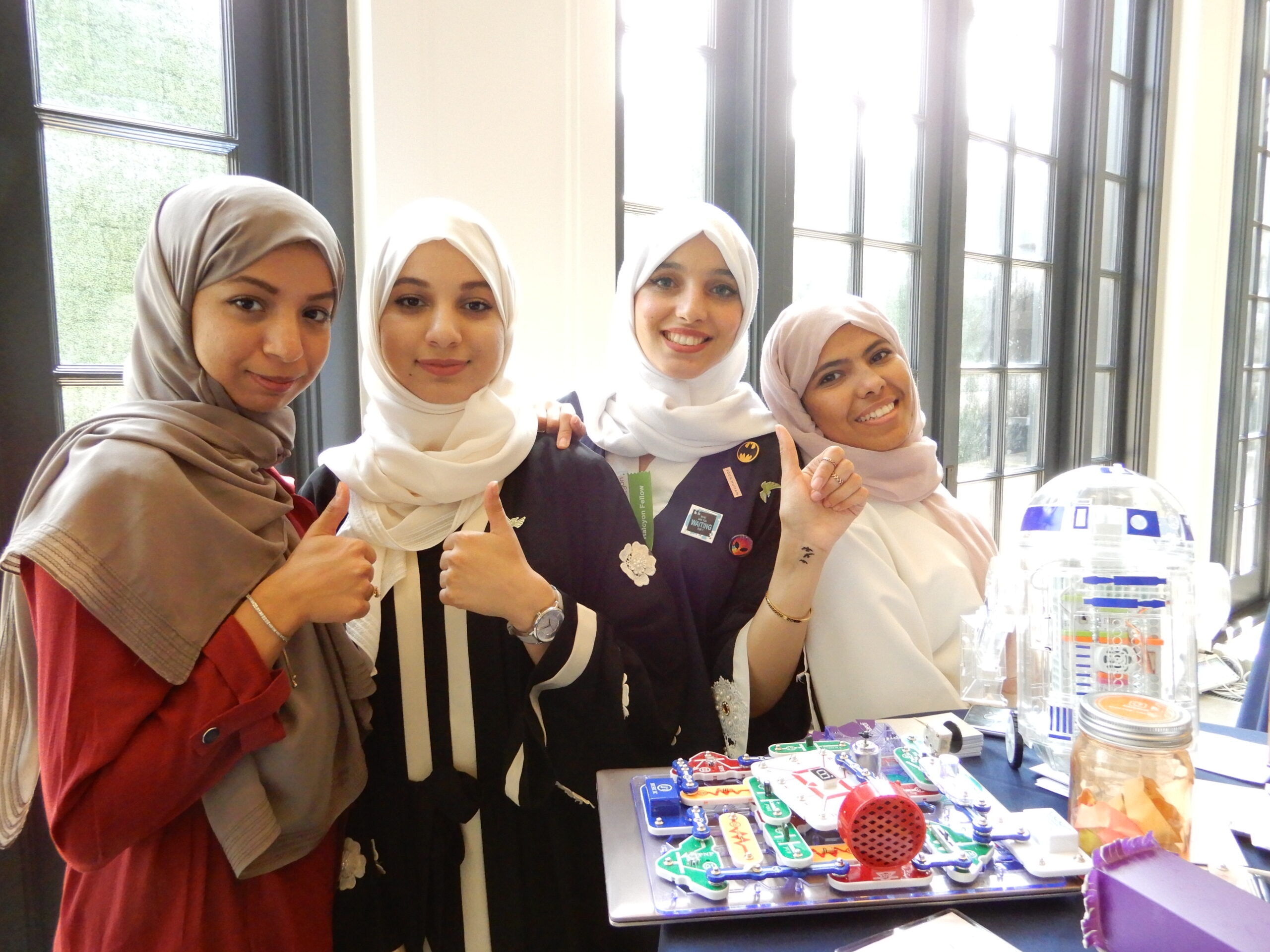 Four incubator fellows in hijabs at Halcyon incubator cohort kickoff